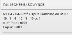 31/07/2018 --- DEAUVILLE --- R1C4 --- Mise 3 € => Gains 0 €. Scree357