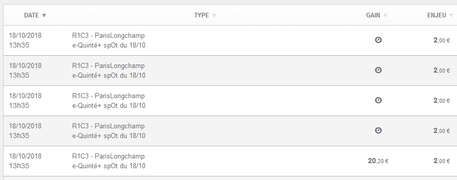 18/10/2018 --- LONGCHAMP --- R1C3 --- Mise 10 € => Gains 20,2 €. Scree497