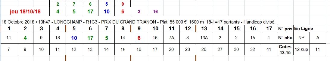 18/10/2018 --- LONGCHAMP --- R1C3 --- Mise 10 € => Gains 20,2 €. Scree498