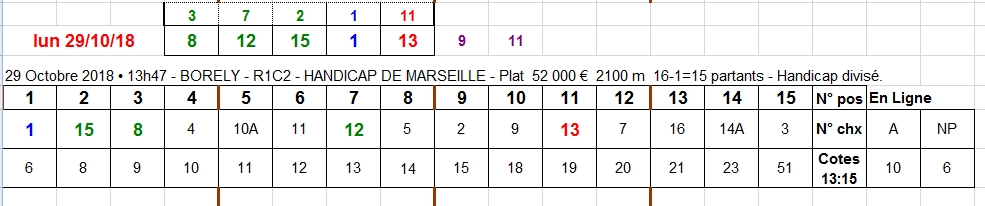 29/10/2018 --- BORELY --- R1C2 --- Mise 10 € => Gains 0 €. Scree509