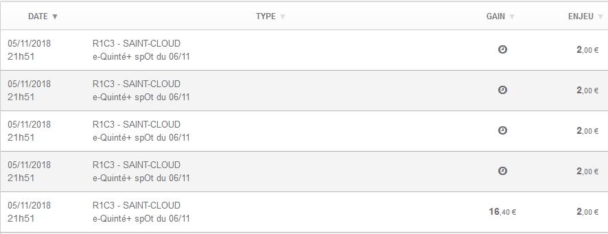 06/11/2018 --- SAINT-CLOUD --- R1C3 --- Mise 10 € => Gains 16,4 €. Scree518