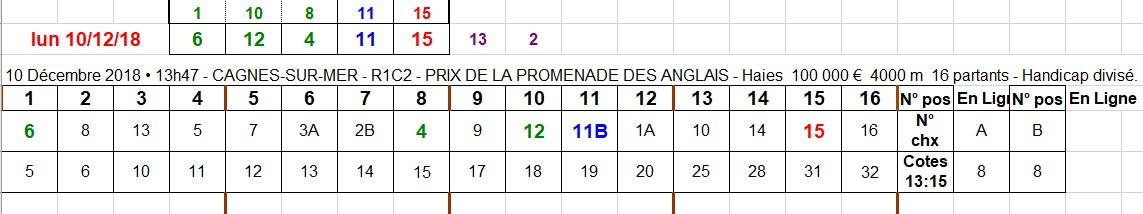 10-12-2018 ---CAGNES-SUR-MER --- R1C2 --- Mise 10 € => Gains 0 €. Scree545
