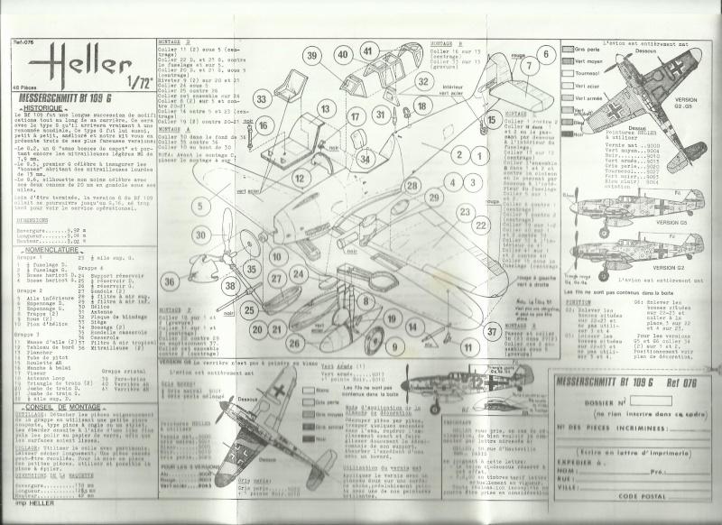 MESSERSCHMITT Bf 109 G2/5/6 1/72ème Réf 076 Notice Notice17
