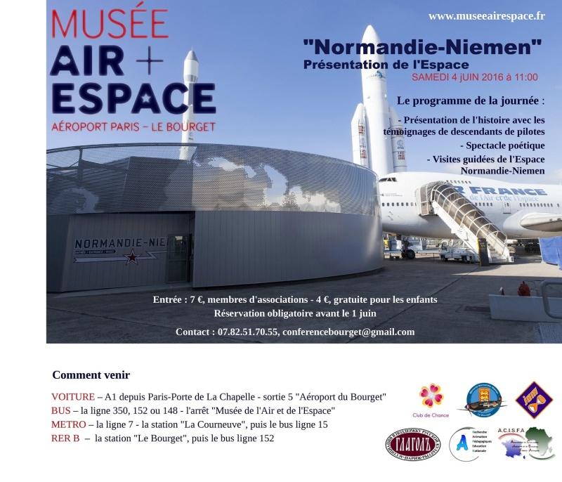 4 juin 2016, 1 an après l'ouverture, journée de présentation de l'Espace Normandie Niemen au Bourget  Affich11
