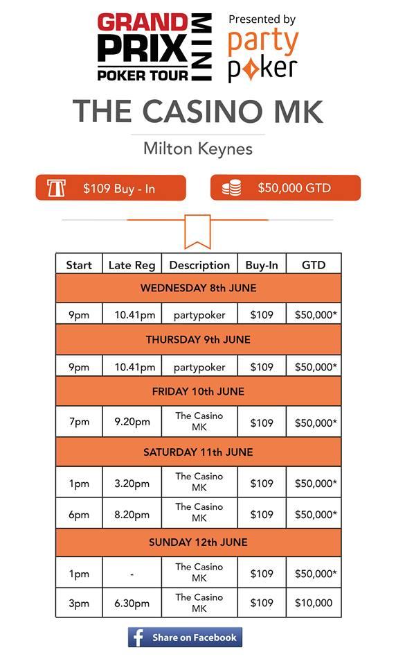 GPPT Mini at Aspers Milton Keynes 8th - 12th June Casino10