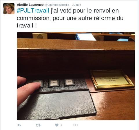 La députée Laurence Abeille et la loi travail Captur17