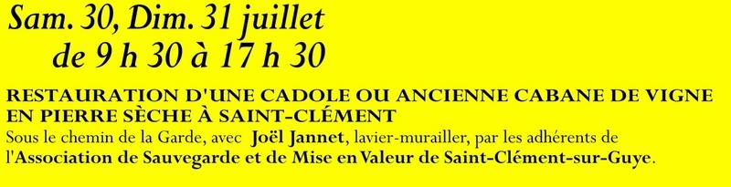 Animation mai à septembre 2016 Association de sauvegarde et de mise en valeur de Saint-Clément-sur-Guye. 30_jui10