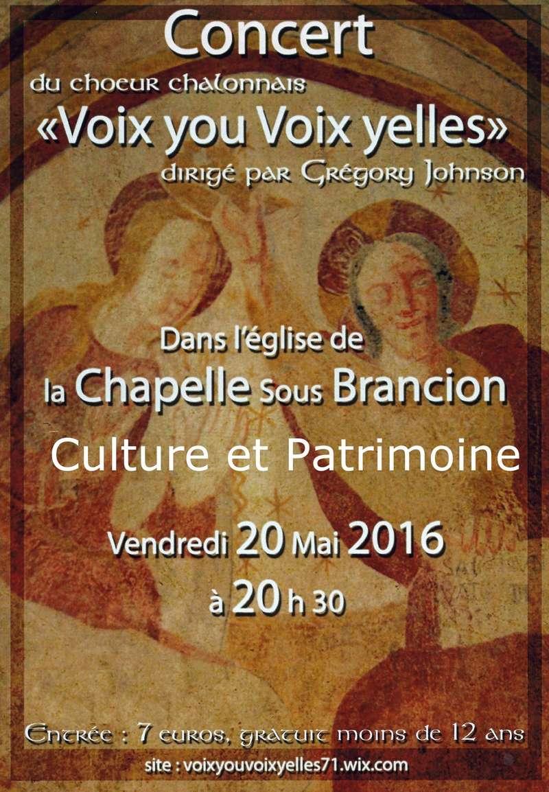 Vendredi 20 mai 20.30 Concert Voix You Voix Yelles proposé par Culture et patrimoine à La Chapelle sous Brancion Feuill11