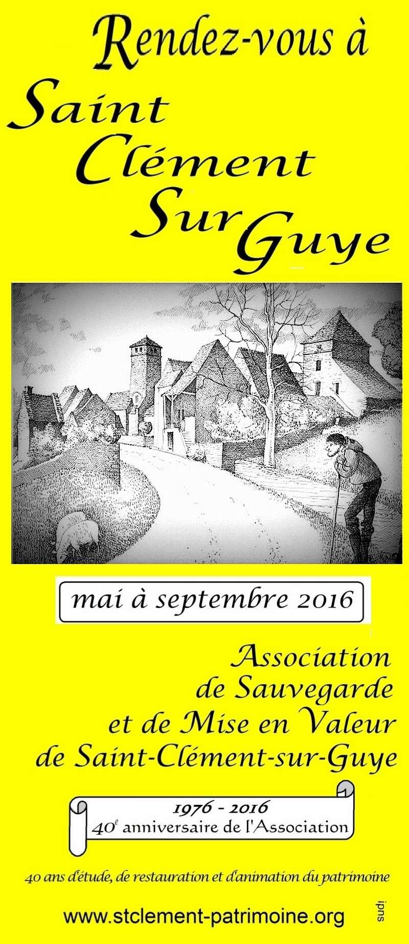 Animation mai à septembre 2016 Association de sauvegarde et de mise en valeur de Saint-Clément-sur-Guye. Rdv_co11