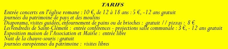 Animation mai à septembre 2016 Association de sauvegarde et de mise en valeur de Saint-Clément-sur-Guye. Tarif_10