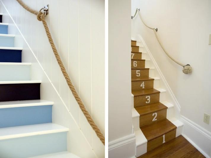 escalier en cours de relooking lambris naturel clair esprit vacances Rope-d10
