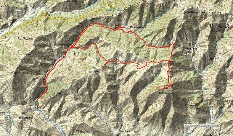 Sábado 28 de mayo. Barranco de Sas–Pico Carrascal por la Mosquera. Sierra de Espadán-Azuébar–Castellón Mapa-m10