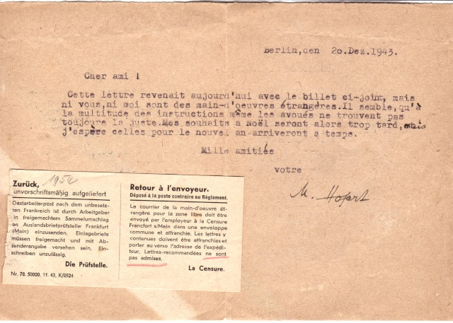 Lettres recommandées des STO ne sont plus admises par la censure de Francfort/M (e) (suite) 3004110