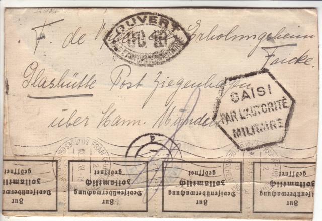 Censure UC 18 (Melun) sur lettre d'Allemagne du 02 septembre1939 pour Paris !!? 8002210