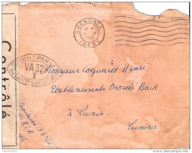 """Cachet """"Sureté Nationale / état français / Bureau de la censure"""" sur Bande de Tunis ?? Va_32910"""