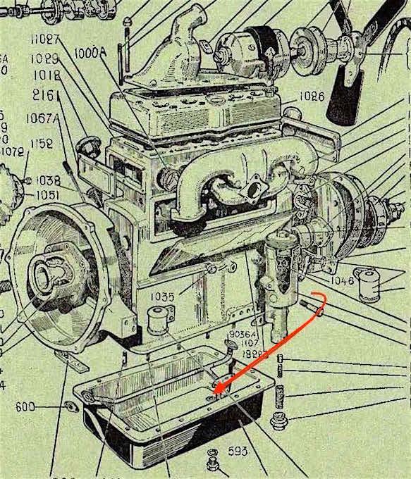 Le bon sens du carter d'huile moteur sur 201. Moteur10