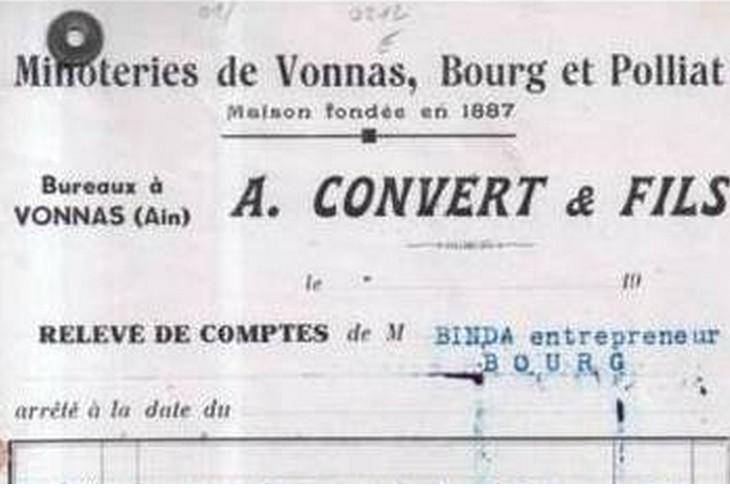 """Ain - Plomb de scelle """"A. Convert & Fils - Minoteries de  VONNAS et POLAIZE. Conver15"""
