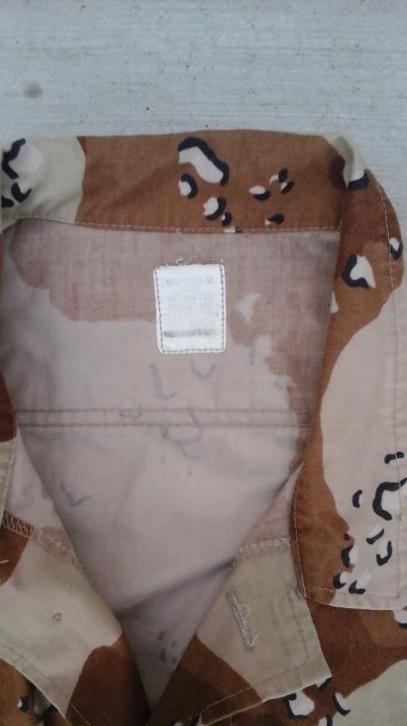 "Desert uniforms (DCU) - DESERT 6 colors ""Chocolate chip""  dated 1984 20151112"