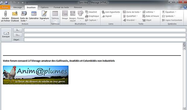 """Inclure une signature """"Anim@plumes"""" TOUTE FAITE dans votre messagerie Outlook Signat10"""
