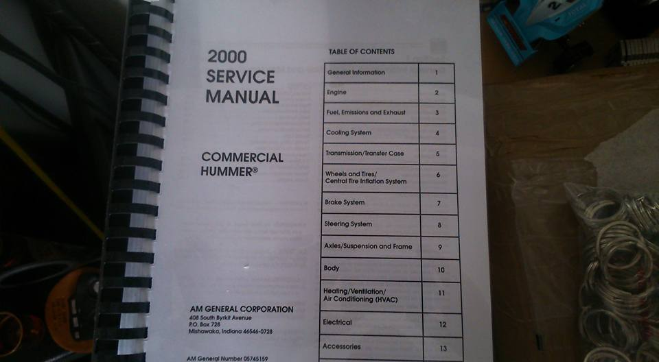 Manuel(guide utilisateur, manuel d'atelier ...) Hummer H1/humvee, H2 & H3 à disposition  10426710