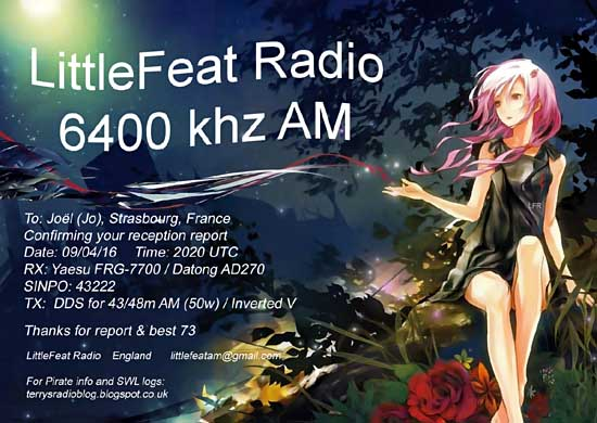 eQSL de LITTLE FEAT Radio Lf55010