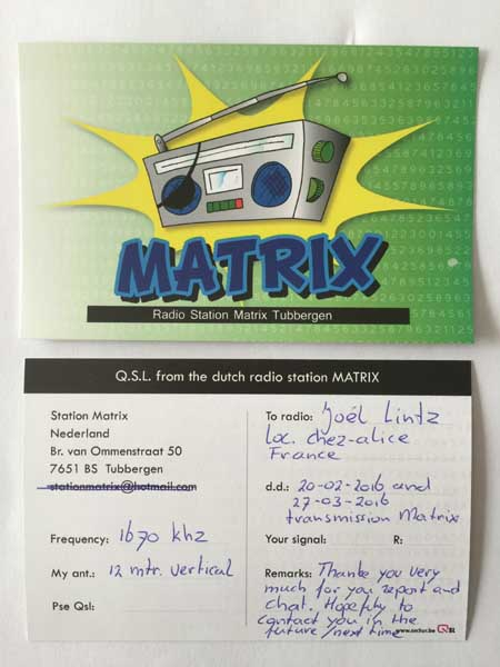 eQSL de Radio Matrix Matrix10