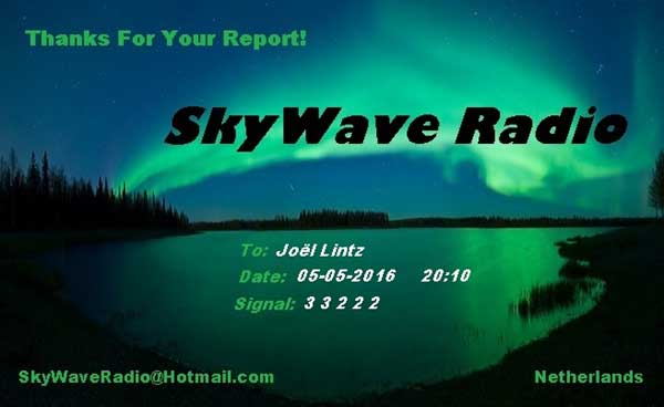 eQSL de Sky Wave Radio Skywav10