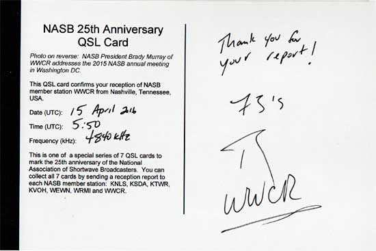 QSL de WWCR Wwcrve10