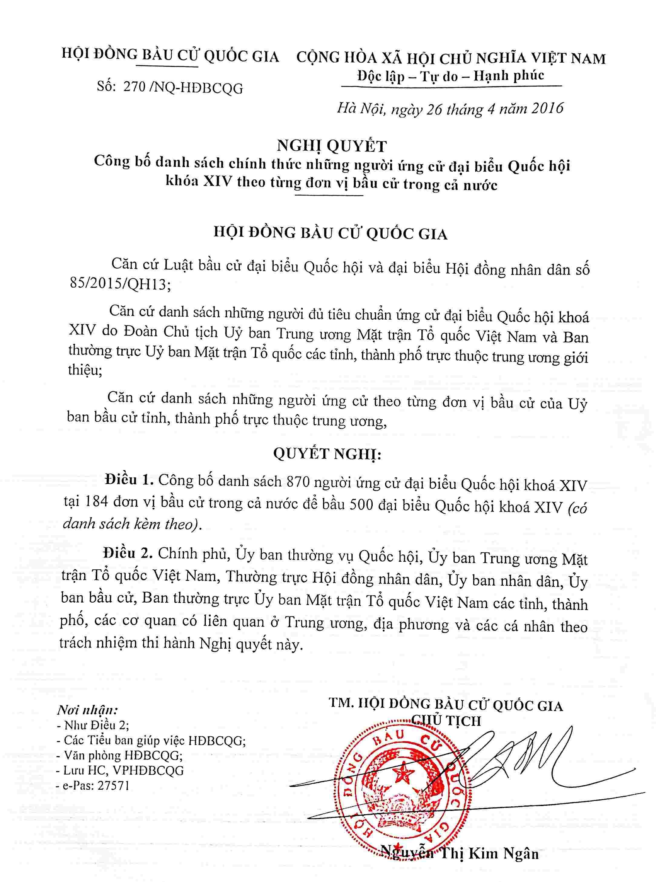 Danh sách 870 người chính thức ứng cử đại biểu Quốc hội khóa XIV Nghi2010