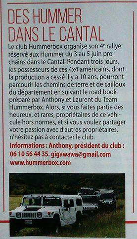 Rallye Hummerbox 3/4/5 Juin 2016 Cantal(15) dans 4X4 Tout Terrain magazine N°318 Avril-Mai 2016 13091910
