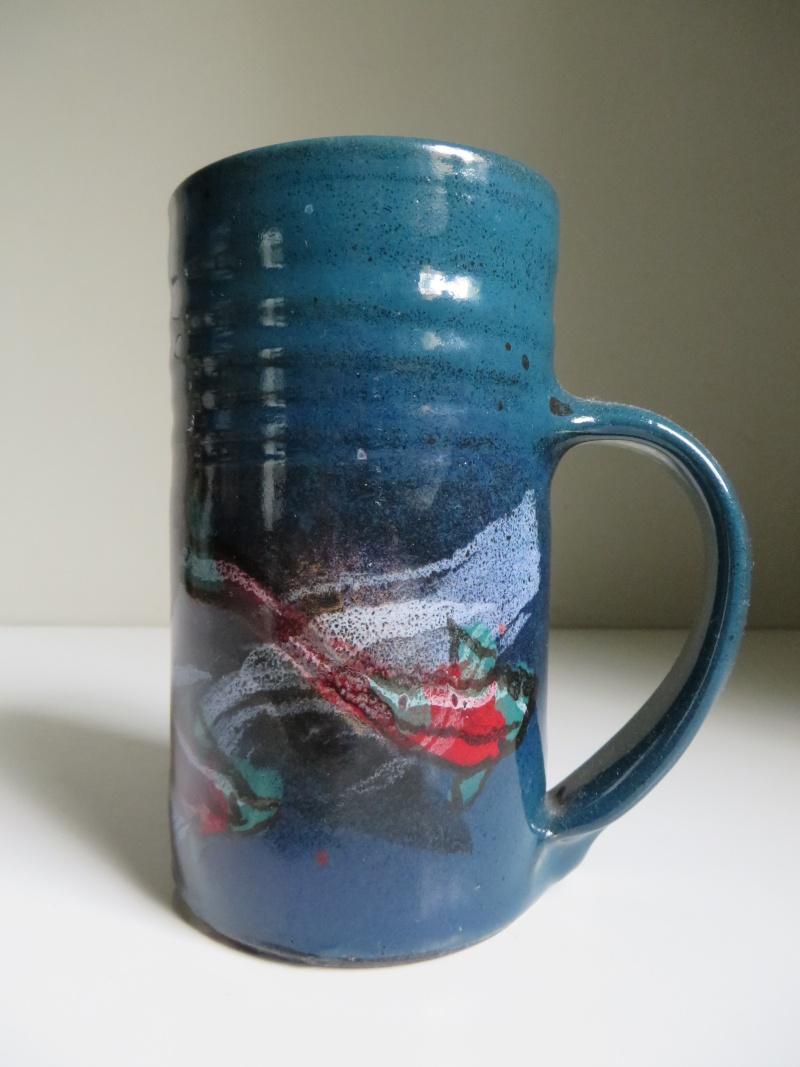 Tall mug with painted fish decoration, impressed triangular mark Img_7810
