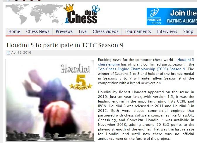 Houdini 5 in TCEC Season 9