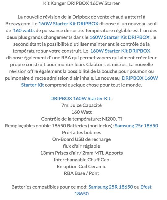Kanger fais évoluer sa Dripbox  BF à 160w 160w210