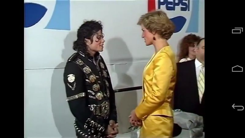 Michael meets Princess Diana & Prince Charles backstage before the concert.   Screen12