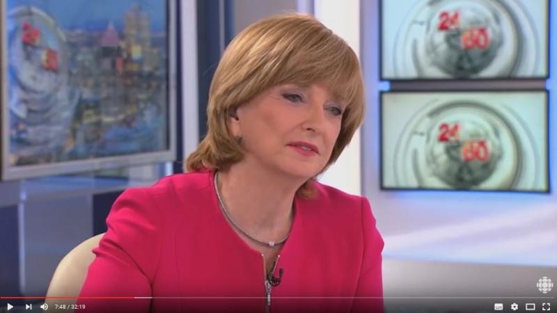 Au secours! Même au Canada les médias organise la dictature de la pensée unique. Un réquisitoire dirigé conte madame LE PEN par madame Anne-Marie Dussault, animatrice de l'émission 24/60 d'une chaîne québecoise. Dussau10