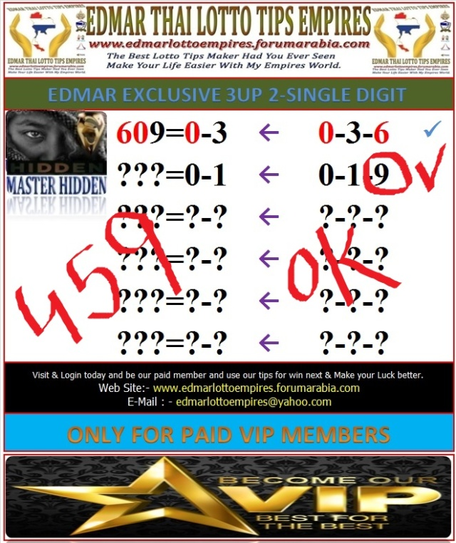 VIP DATA FOR ALL MEMBER BEFORE THE RESULT 02/MAY/2016 11:00 MORNING(FREE VIEW -UPDATE-DONE) 2-digi11