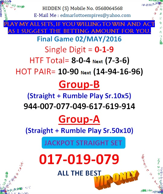 VIP DATA FOR ALL MEMBER BEFORE THE RESULT 02/MAY/2016 11:00 MORNING(FREE VIEW -UPDATE-DONE) Final_12