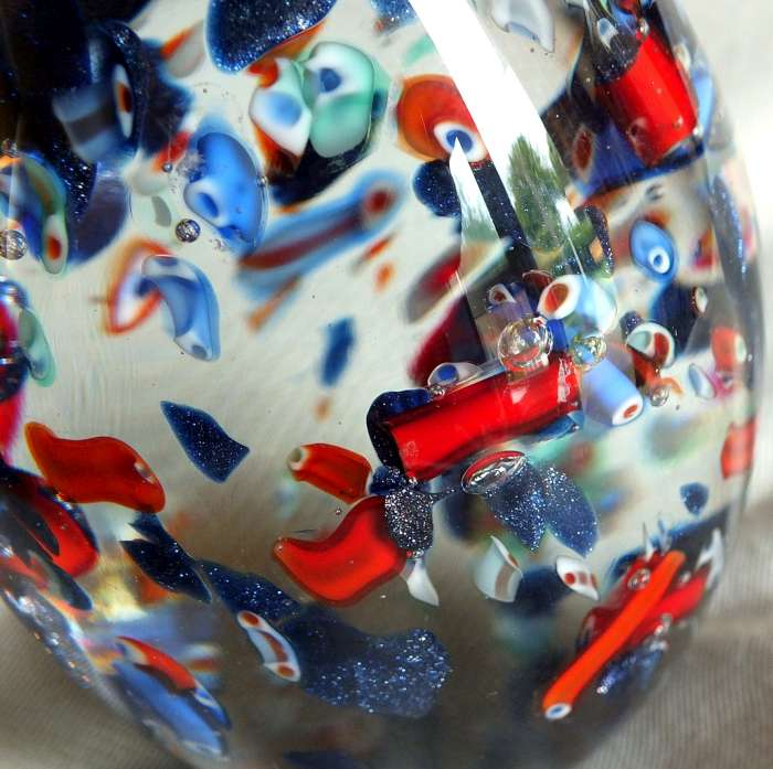 Murano ? scattered millefiori canes egg shaped paperweight for ID Murano11