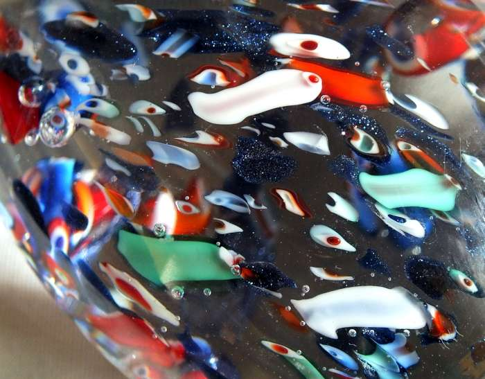 Murano ? scattered millefiori canes egg shaped paperweight for ID Murano13