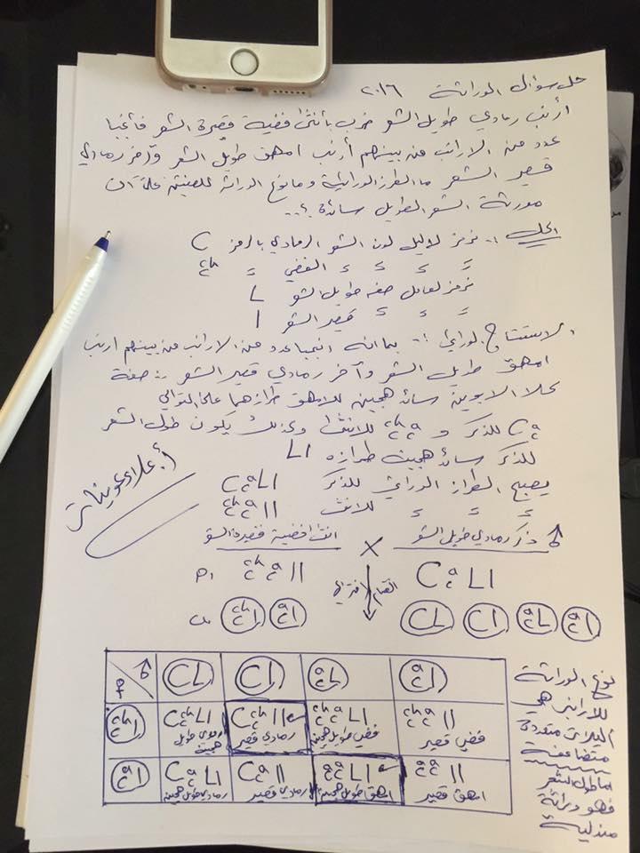 اجوبة وتصحيح الاحياء للسادس الاعدادي العلمي الدور الاول 2016 028