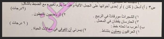 اجوبة وتصحيح اللغة العربية السادس الابتدائي الدور الاول 2016 421