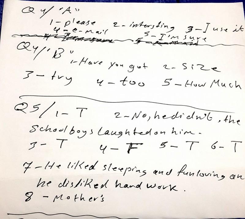 مهم حل ورقة اسئلة مادة اللغة الانجليزية الصف الثالث المتوسط 2016 الدور الاول Z14