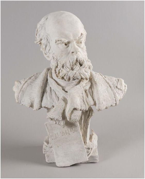 Portrait de Paul Verlaine par Louis Eugène Gaspary Buste_10