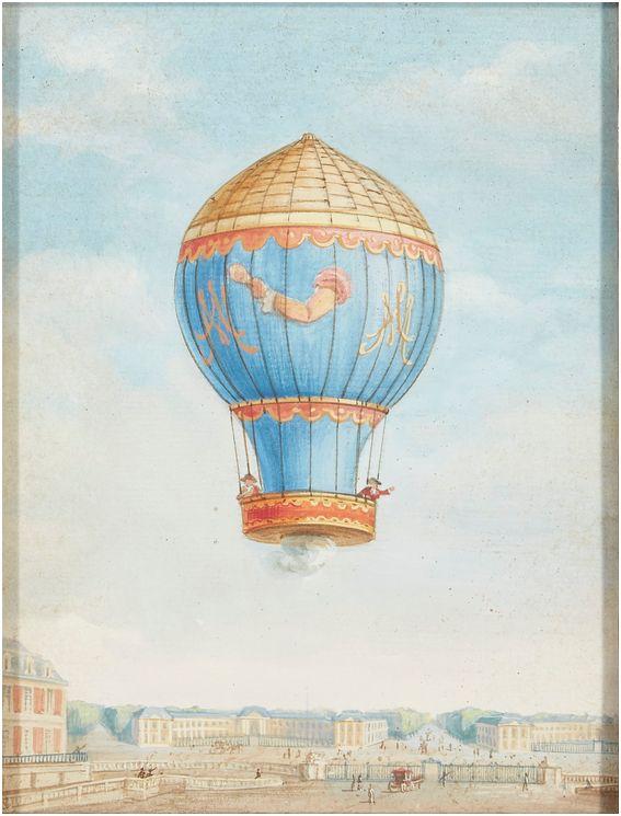 Montgolfier et Montgolfiere, ballon à Versailles Dessin33