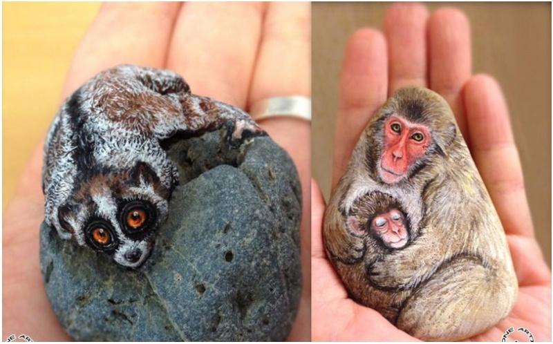 Une artiste japonaise qui peint des animaux sur des pierres Screen10