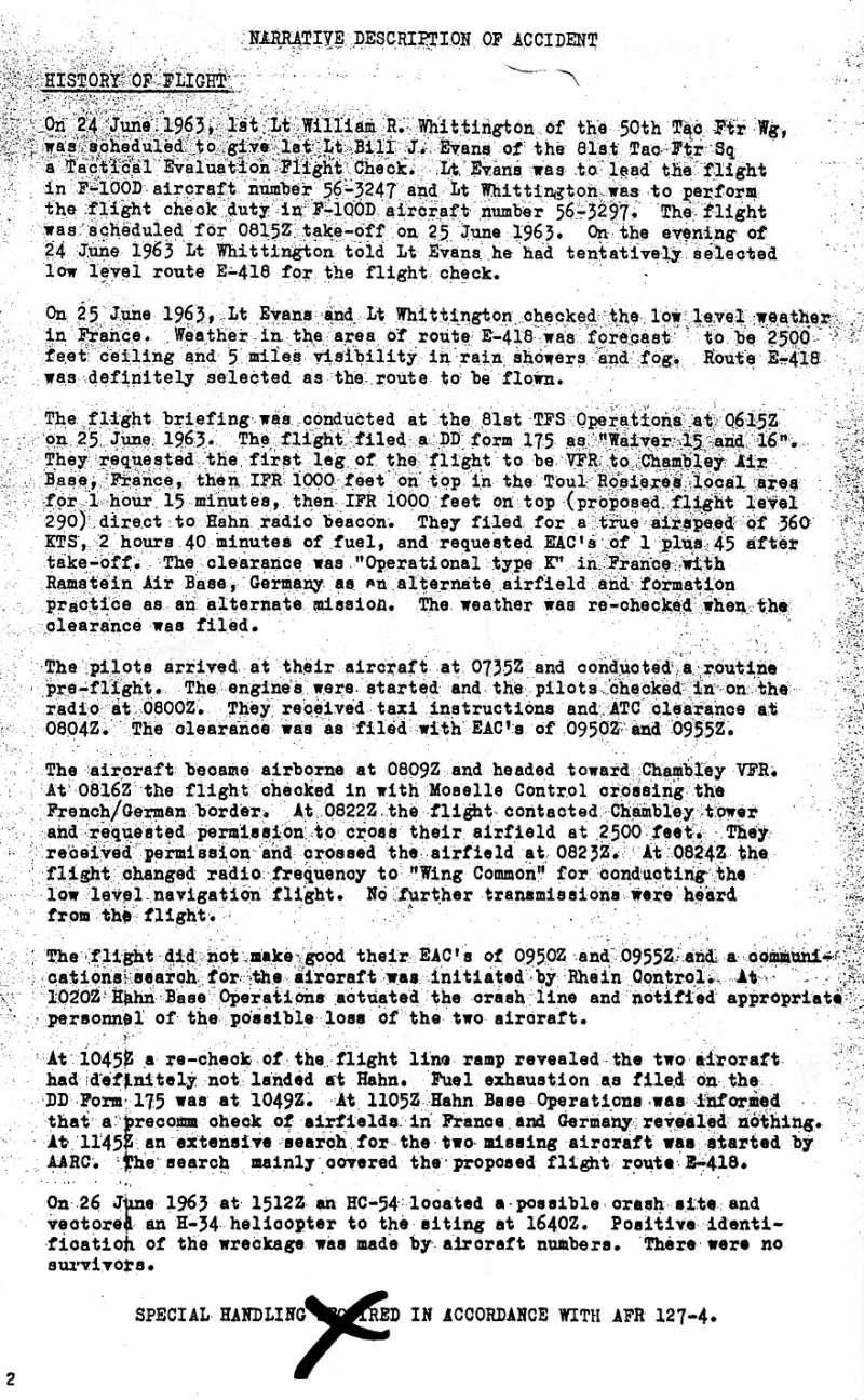1963 - Crash : F 100 SUPER SABRE à Servance Ltt William Evans - Ltt William Whittington - Page 2 Crash_11
