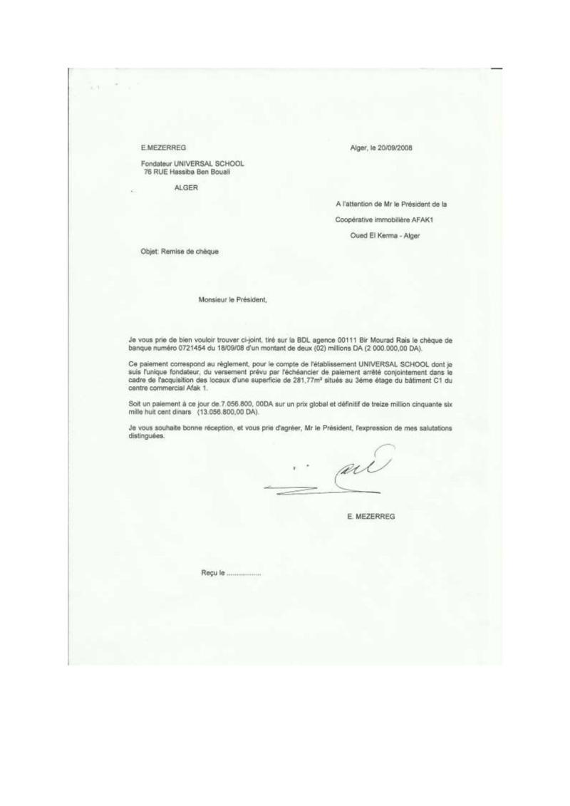 Documents officiels concernant le projet AFAK dans l'ordre chrologique 2008-010