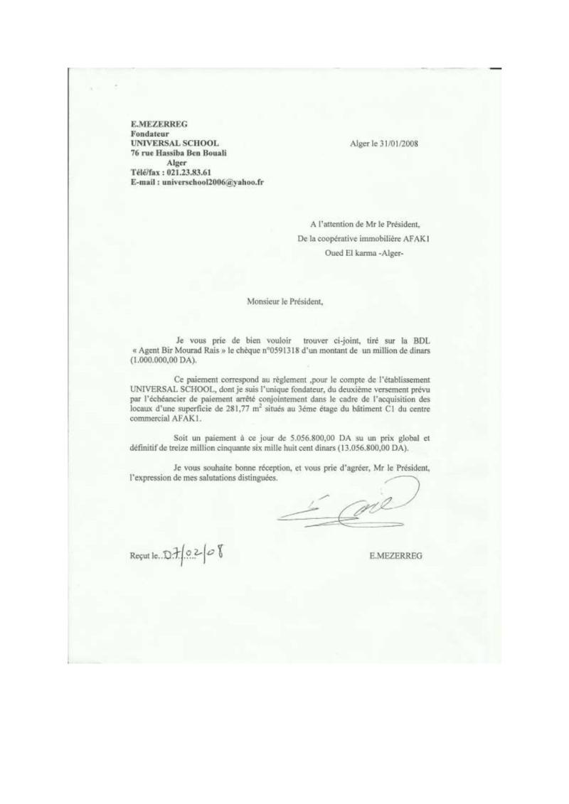 Documents officiels concernant le projet AFAK dans l'ordre chrologique 2008-011