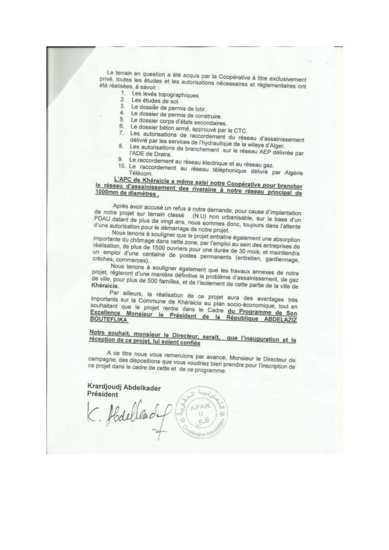 Documents officiels concernant le projet AFAK dans l'ordre chrologique 2009-011