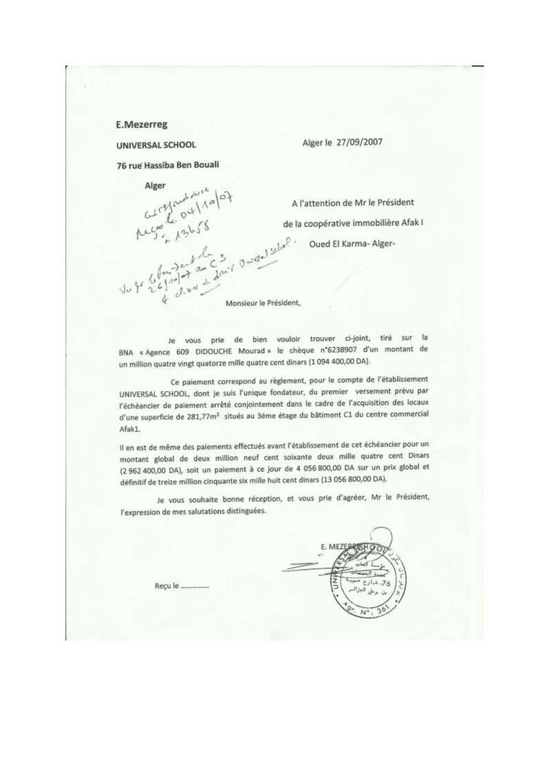 Documents officiels concernant le projet AFAK dans l'ordre chrologique 2009-012